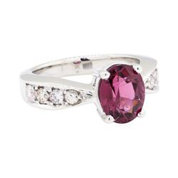 14KT White Gold 1.25 ctw Rubellite and Diamond Ring