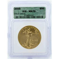 2000 $50 American Gold Eagle Coin ICG MS70