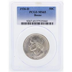 1936-D Boone Commemorative Half Dollar Coin PCGS MS65