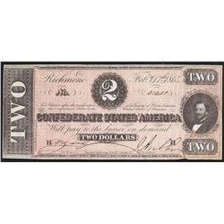 1864 $2 Confederate States of America Note