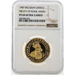 1987 Belgium 50 ECU Treaty of Rome Anniversary Gold Coin NGC PF69 Ultra Cameo