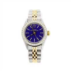 Ladies Two Tone Rolex Oyster Perpetual Watch with Diamond Bezel