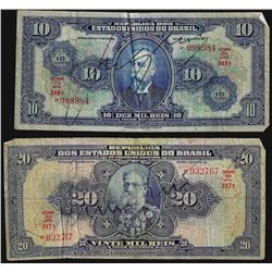 Set of (2) $10, $20 Republica Dos Estados Unidos Do Brasil Notes