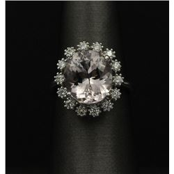 14KT White Gold Estate Bridal 5.32 ctw Morganite Ring and Diamond Ring
