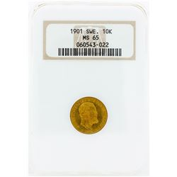 1901 Sweden 10 Kronor Gold Coin NGC MS65