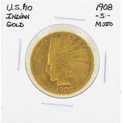 1908-S No Motto $10 Indian Head Eagle Gold Coin