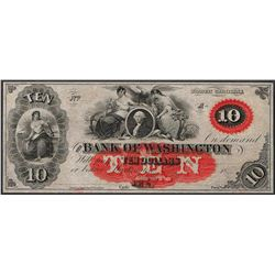 1800's $10 The Bank of Washington Obsolete Note