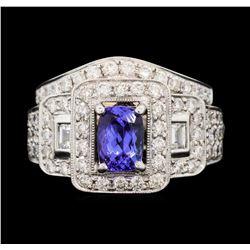 18KT White Gold 1.09 ctw Tanzanite and Diamond Ring