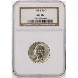 1948-S Washington Silver Quarter Coin NGC MS66