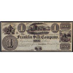 1800's $1 Franklin Silk Company Ohio Obsolete Bank Note