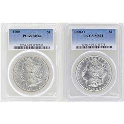 Lot of 1900 & 1900-O $1 Morgan Silver Dollar Coins PCGS MS64