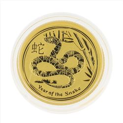 2013 $15 Australia 1/10 oz Lunar Year of the Snake Gold Coin BU