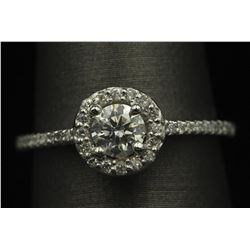 14KT White Gold 0.61 ctw Diamond Solitaire Engagement Ring