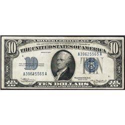 1934 $10 Silver Certificate Note - Pinhole
