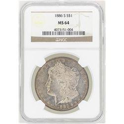 1886-S $1 Morgan Silver Dollar Coin NGC MS64