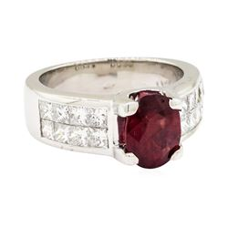 Platinum 2.10 ctw Ruby and Diamond Ring
