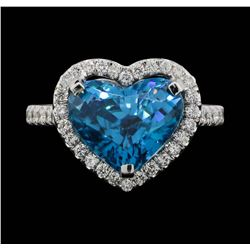 18KT White Gold 7.64 ctw Blue Zircon and Diamond Ring