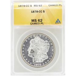 1878-CC $1 Morgan Silver Dollar Coin ANACS MS62 Cameo PL