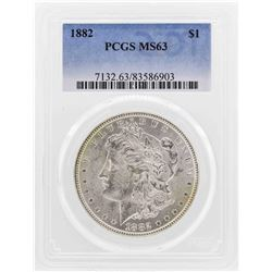 1882 $1 Morgan Silver Dollar Coin PCGS MS63