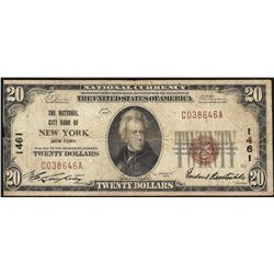 1929 $20 National City Bank of New York NY National Currency Note CH #1461