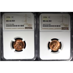 2-1936 LINCOLN CENTS, NGC MS-66-RED