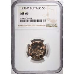 1938-D BUFFALO NICKEL, NGC MS-66