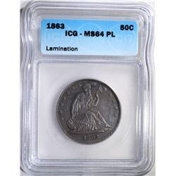1863 SEATED HALF DOLLAR, ICG MS-64 PROOF LIKE
