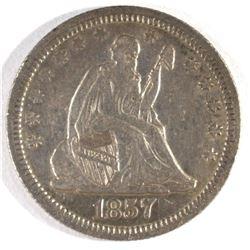 1857 SEATED LIBERTY QUARTER, AU