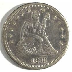 1876-S SEATED LIBERTY QUARTER, AU+