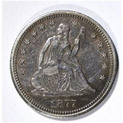 1877-CC SEATED LIBERTY QUARTER, XF