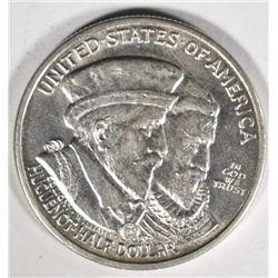 1924 HUGUENOT COMMEM HALF DOLLAR, AU/UNC