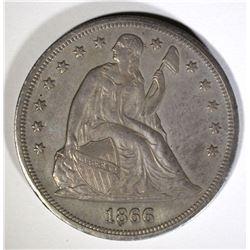 1866 SEATED DOLLAR, AU/BU