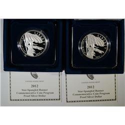(2) 2012 Star-Spangled Banner Silver Dollars