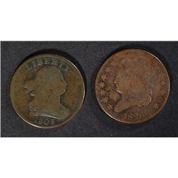 2 - HALF CENTS; 1803 G/VG & 1826 VG/F