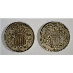 1867 & 1882 SHIELD NICKELS, XF+