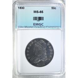 1830 BUST HALF DOLLAR, EMGC GEM BU