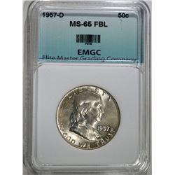 1957-D FRANKLIN HALF DOLLAR, EMGC GEM BU FBL