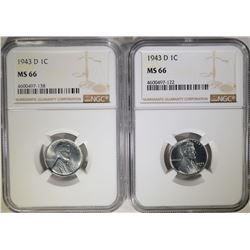 """2-1943-D LINCOLN """"STEEL"""" CENTS, NGC MS-66"""