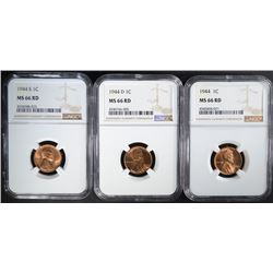 1944 P,D&S LINCOLN CENTS NGC MS66 RD