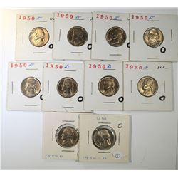10-1950-D GEM BU+ JEFFERSON NICKELS