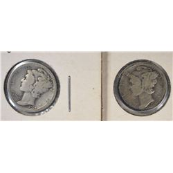 1921 & 21-D MERCURY DIMES, VG KEY DATES