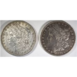 2 - 1880-O MORGAN DOLLARS; 1-XF, 1-XF/AU