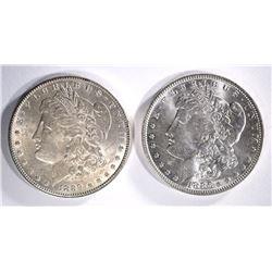 1886 & 1889 MORGAN SILVER DOLLARS, CH BU