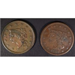 1842 SM DATE & 1842 LG DATE LARGE CENTS, VF/XF