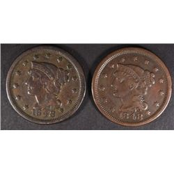 2 1848 LARGE CENTS 1 VF, 1 XF