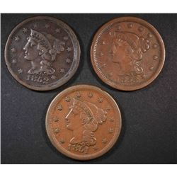 1851, 52 & 53 LARGE CENTS VF/XF