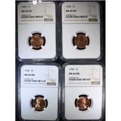 4 - 1958 LINCOLN CENTS NGC MS66 RD