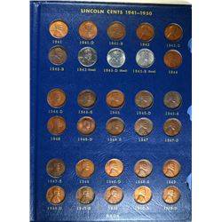 1941-1958 LINCOLN CENT SET WITH AU 1955/55 DBL DIE