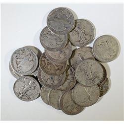 20-CIRC WALKING LIBERTY HALF DOLLARS
