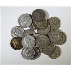 $10 SILVER 90% FRANKLIN HALF DOLLARS